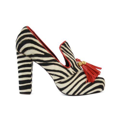 Calzature STELLA JEAN - mocassino alto cavallino zebra