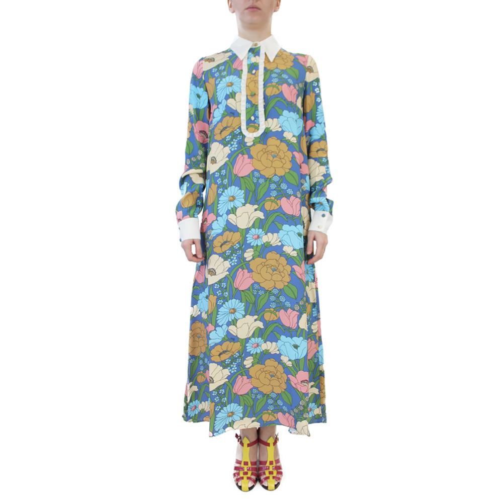 Abbigliamento VIVETTA - abito lungo | OneMore fiori azzurro (1)