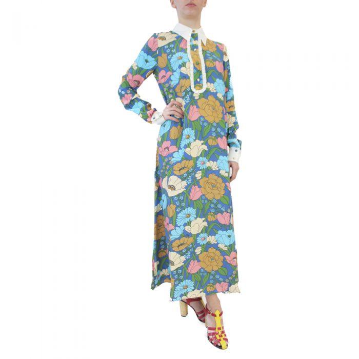 Abbigliamento VIVETTA - abito lungo | OneMore fiori azzurro (2)