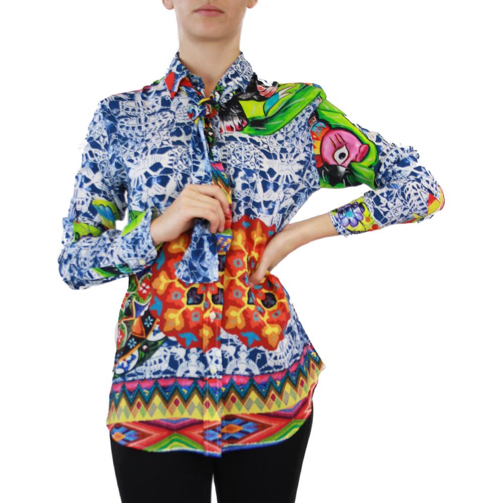 Abbigliamento STELLA JEAN - camicia con fiocco | OneMore blu (1)
